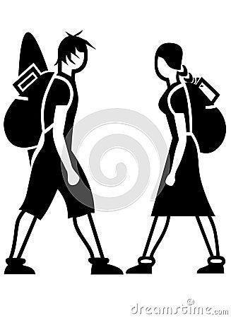 Icone dei viaggiatori con zaino e sacco a pelo