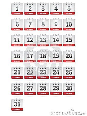 Icone del calendario di dicembre