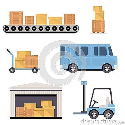 Icone del magazzino piane illustrazione vettoriale for Piano del magazzino
