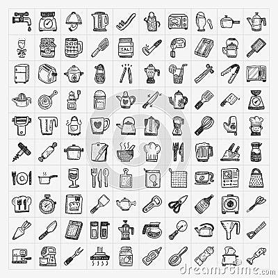 Icone della cucina di scarabocchio