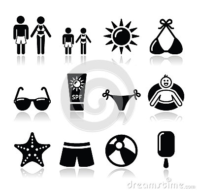 Icone di feste della spiaggia di estate messe