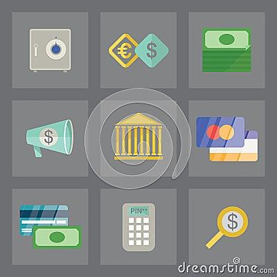 Icone di finanza messe