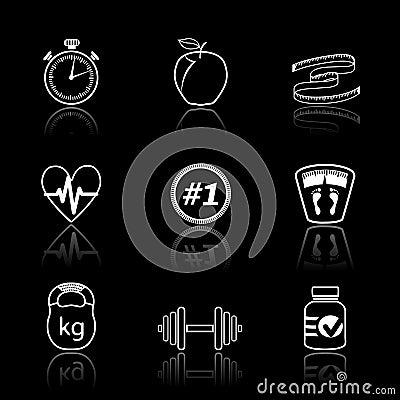 Icone di sport di forma fisica messe