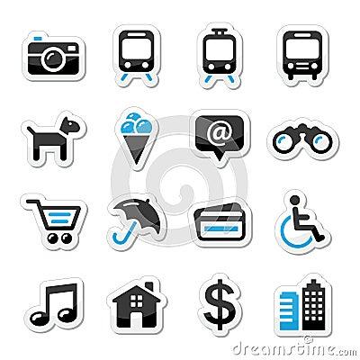 Icone di turismo e di trasporto di viaggio impostate -