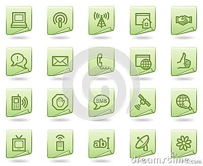 Icone di Web di comunicazione del Internet, documento verde