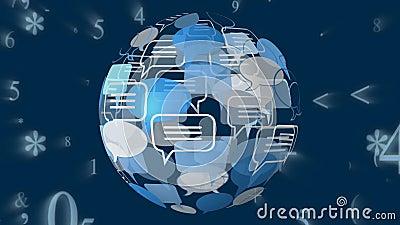 Icono de la burbuja del mensaje y códigos binarios