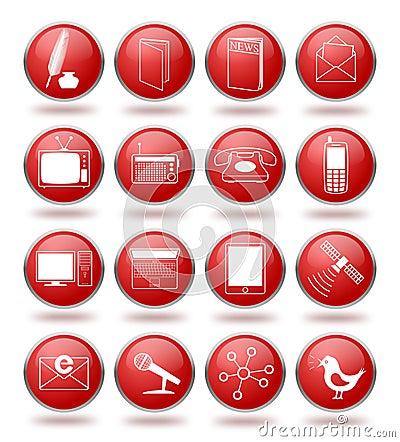 Icono de la comunicación fijado en esferas rojas