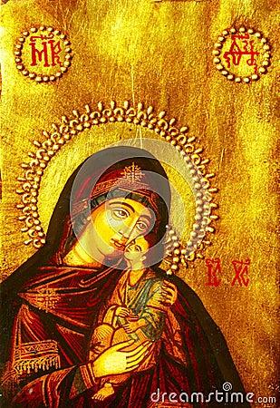 Icono de Maria y del bebé Jesús