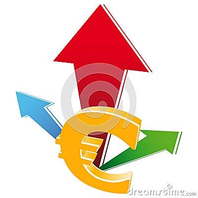 Icono del crecimiento del dinero en circulación