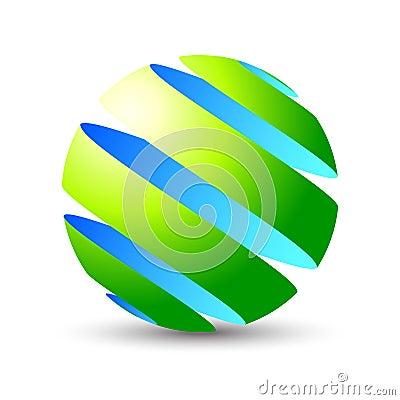 Icono del eco de la esfera 3D y diseño de la insignia