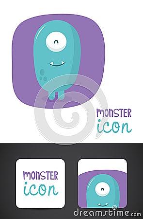 Icono del monstruo y diseño de la tarjeta de visita