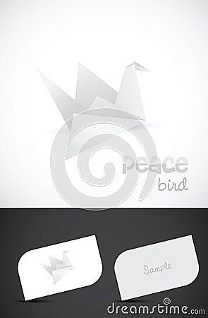 Icono del pájaro del papel del origami del vector