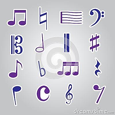 Icono eps10 determinado de las etiquetas engomadas de la nota de la música