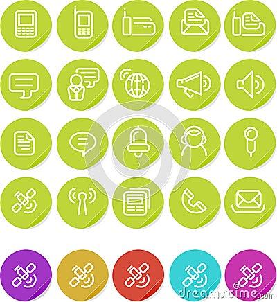 Icono llano de las etiquetas engomadas fijado: Comunicaciones