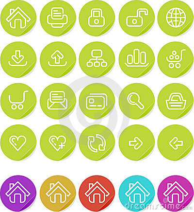Icono llano de las etiquetas engomadas fijado: Web site e Internet