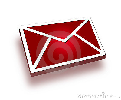 Icono rojo del correo 3d