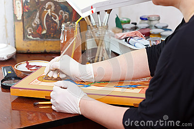 Iconographer painting of Christian icon