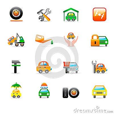 Iconos autos del servicio