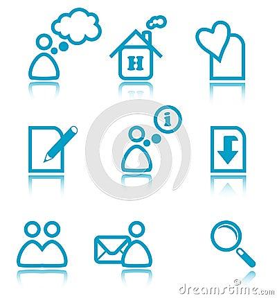 Iconos azules del Web