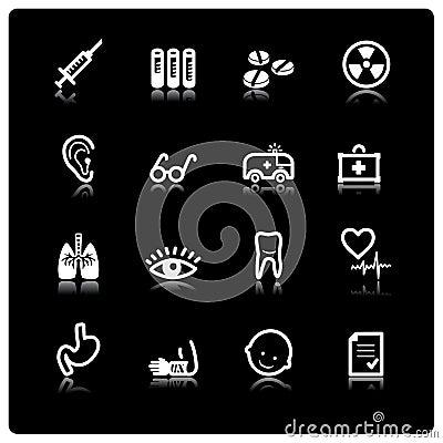 Iconos blancos de la medicina