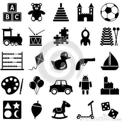 Iconos blancos y negros de los juguetes