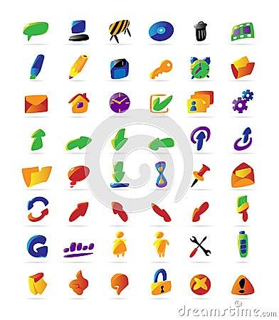 Iconos coloridos del interfaz