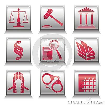 Iconos con símbolos de la justicia