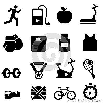 Iconos de la aptitud, de la salud y de la dieta