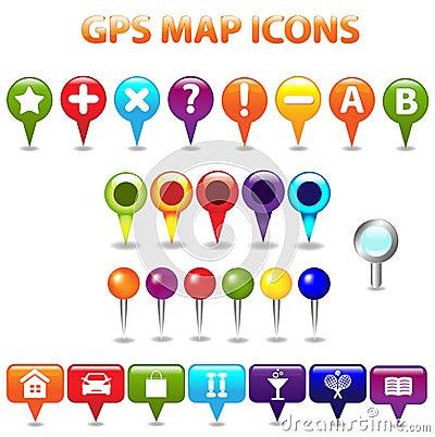Iconos de la correspondencia de color del GPS
