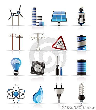 Iconos de la electricidad, de la potencia y de la energía