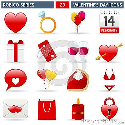 Iconos de la tarjeta del día de San Valentín - serie de Robico