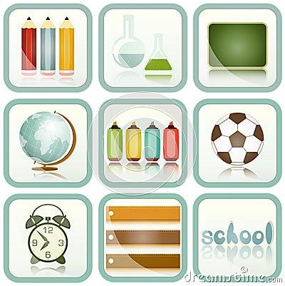 Iconos de las fuentes de escuela fijados