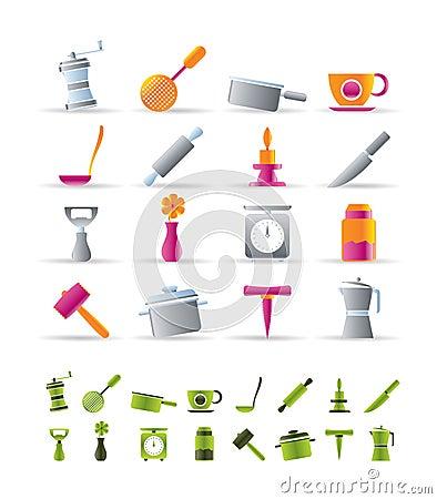 Iconos de las herramientas de la cocina y del hogar imagen for Herramientas de cocina