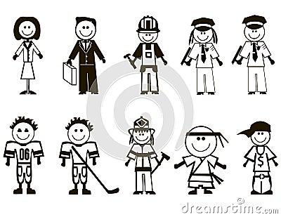 Iconos de las profesiones de la historieta