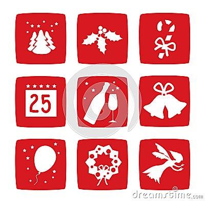 Iconos de los días de fiesta de la Navidad del invierno fijados