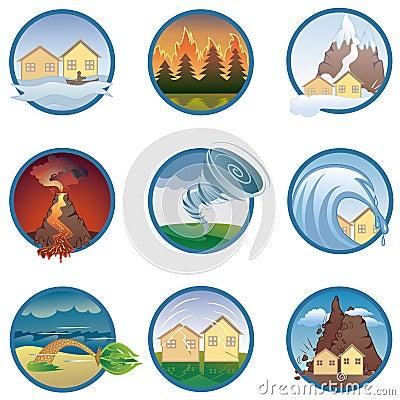 Iconos de los desastres naturales