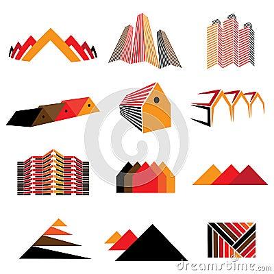 Iconos de los edificios de oficinas, de las casas residenciales y de los hogares. También symb