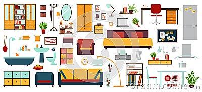 iconos de los muebles en el estilo plano para la casa