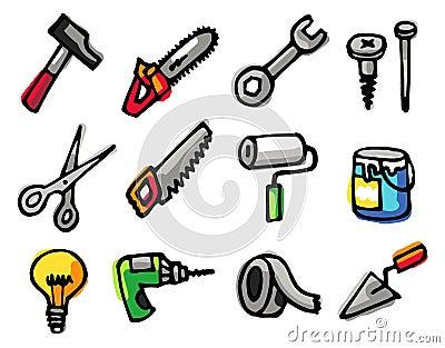 Iconos de los objetos de las herramientas fotos de archivo for Herramientas que se utilizan en un vivero