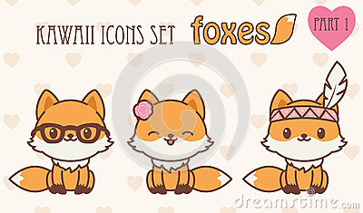 Iconos de los zorros de Kawaii fijados Ejemplo del vector de animales  lindos Parte 1.