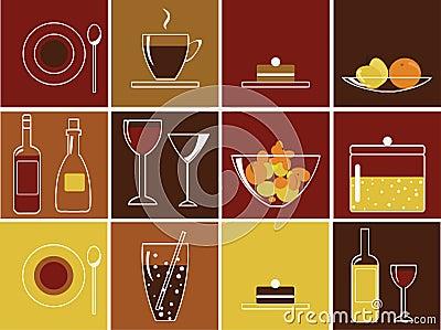 Iconos del alimento y de la bebida