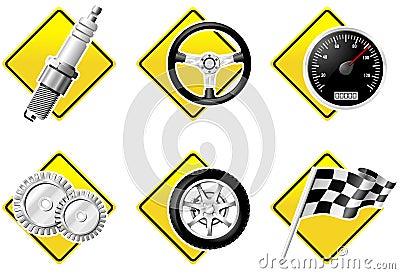 Iconos del automóvil y el competir con