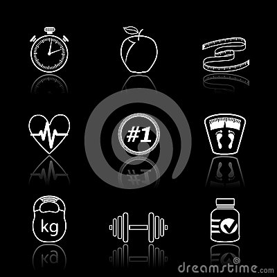 Iconos del deporte de la aptitud fijados