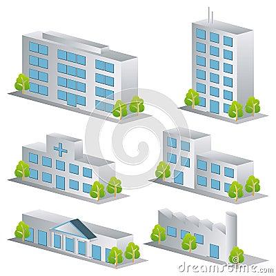 Iconos del edificio 3d fijados