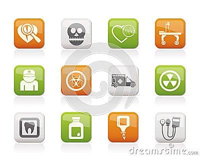 Iconos del equipo de la medicina y del hospital