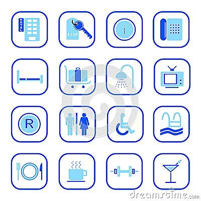 Iconos del hotel - serie azul