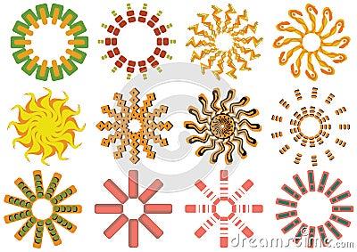 Iconos del sol del vector