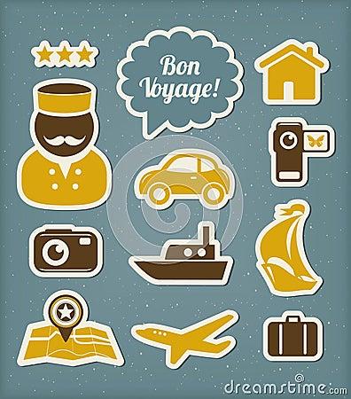 Iconos del viaje y de las vacaciones fijados