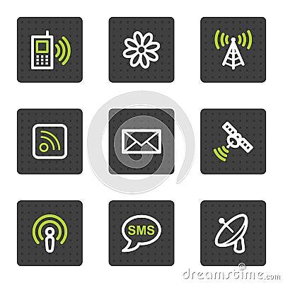 Iconos del Web de la comunicación, botones cuadrados grises