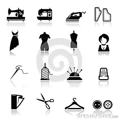 Iconos fijados costura y manera